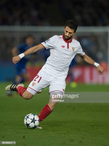 Nicolas Pareja of Sevilla FC in action during the UEFA Champions League Round of 16 second leg match between Leicester City and Sevilla FC at The...