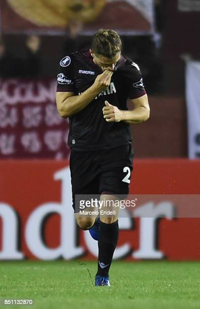 Nicolas Pasquini of Lanus celebrates after scoring the second goal of his team during the second leg match between Lanus and San Lorenzo as part of...