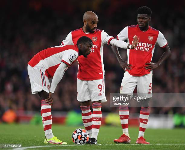 Nicolas Pepe, Alexandre Lacazette and Thomas Partey of Arsenal during the Premier League match between Arsenal and Crystal Palace at Emirates Stadium...