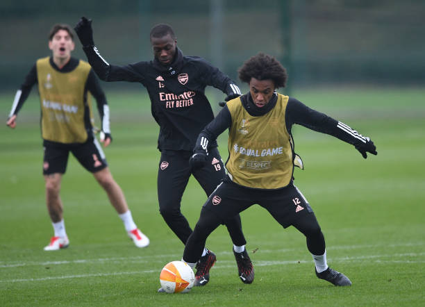 GBR: Arsenal FC Training Session
