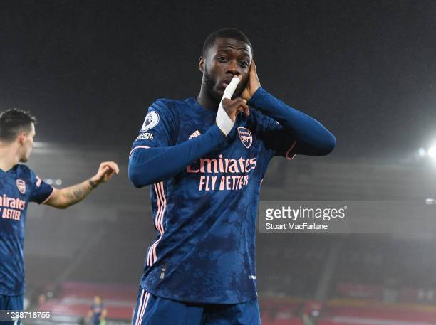 Nicolas Pepe celebrates scoring the 1st Arsenal goa during the Premier League match between Southampton and Arsenal at St Mary's Stadium on January...