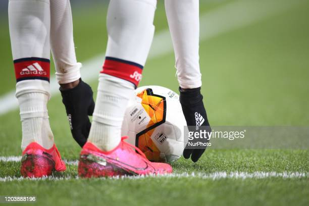 Nicolas Pepe controls the ball during the 2019/20 UEFA Europa League 1/32 playoff finale game between Arsenal FC and Olympiakos FC at Emirates...