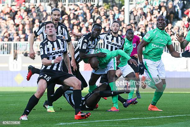 Nicolas Pepe of Angers and Bryan Dabo of SaintEtienne during the French Ligue 1 match between Angers and Saint Etienne on November 27 2016 in Angers...