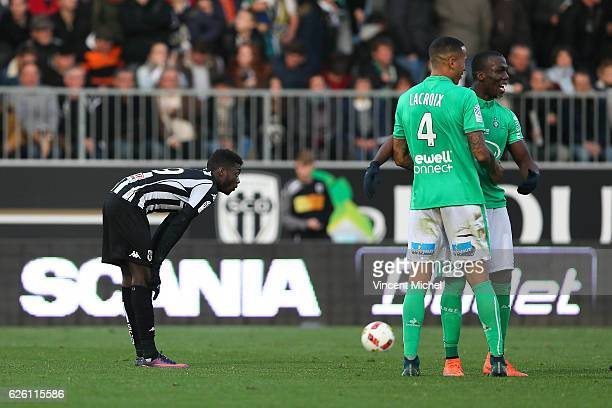 Nicolas Pepe of Angers and Leo Lacroix and Florentin Pogba of SaintEtienne during the French Ligue 1 match between Angers and Saint Etienne on...