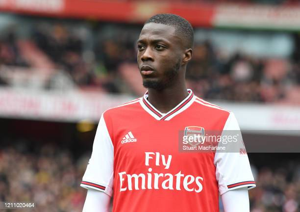 Nicolas Pepe of Arsenal before the Premier League match between Arsenal FC and West Ham United at Emirates Stadium on March 07, 2020 in London,...