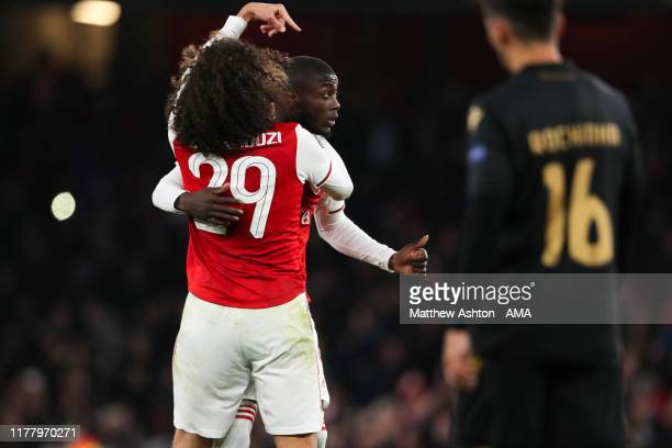 Nicolas Pepe of Arsenal celebrates after scoring a goal to make it 3-2 during the UEFA Europa League group F match between Arsenal FC and Vitoria...