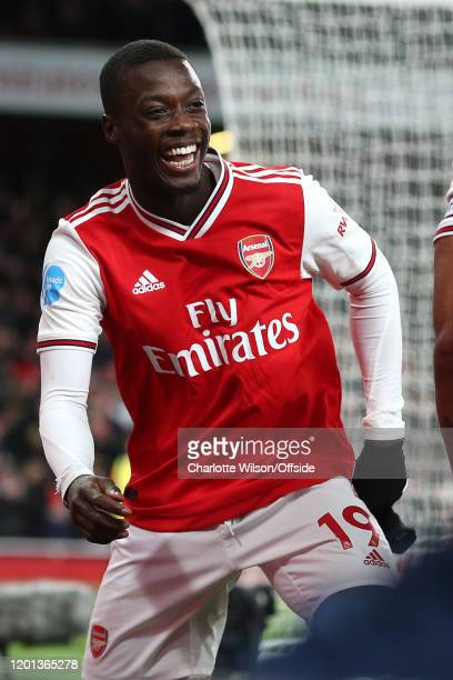 Nicolas Pepe of Arsenal celebrates scoring their 2nd goal during the Premier League match between Arsenal FC and Newcastle United at Emirates Stadium...