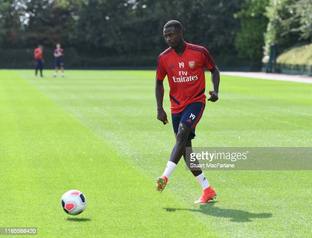 Nicolas Pepe of Arsenal during a training session at London Colney on August 01 2019 in St Albans England