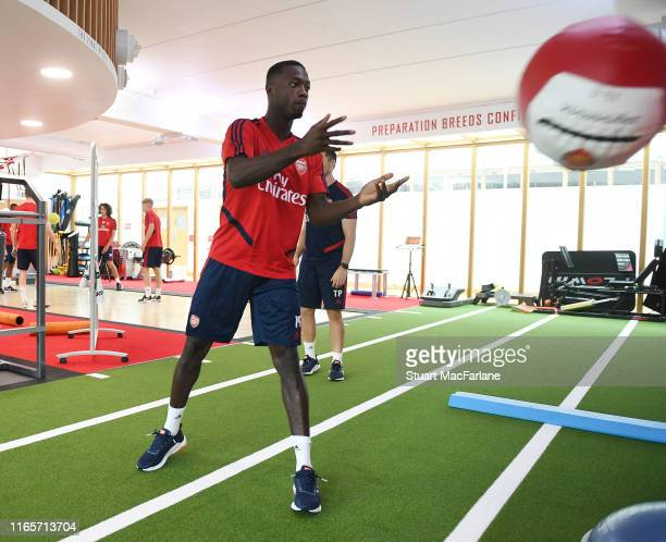 Nicolas Pepe of Arsenal during a training session at London Colney on August 02, 2019 in St Albans, England.