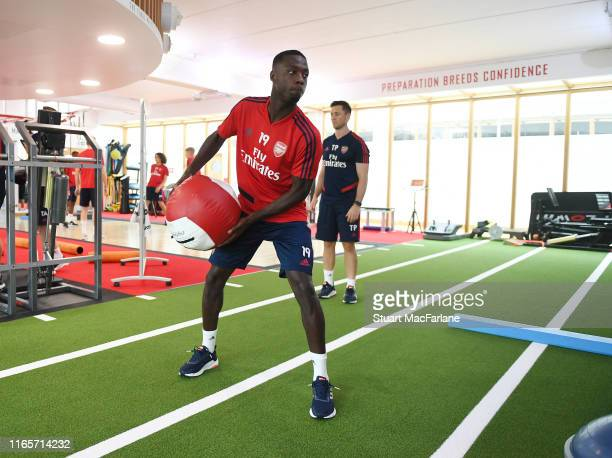 Nicolas Pepe of Arsenal during a training session at London Colney on August 02 2019 in St Albans England