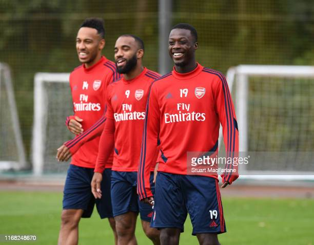 Nicolas Pepe of Arsenal during a training session at London Colney on August 15 2019 in St Albans England
