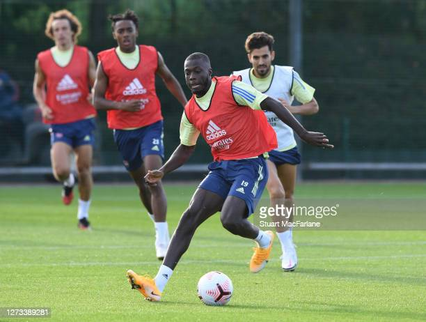Nicolas Pepe of Arsenal during a training session at London Colney on September 18 2020 in St Albans England