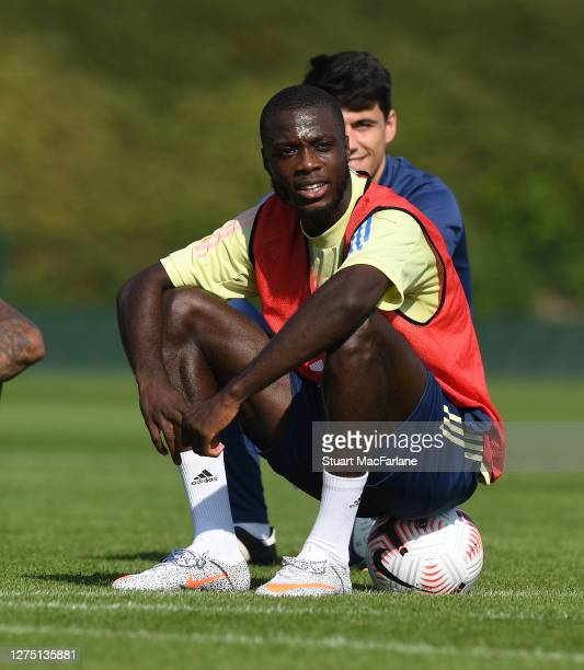 Nicolas Pepe of Arsenal during a training session at London Colney on September 22 2020 in St Albans England