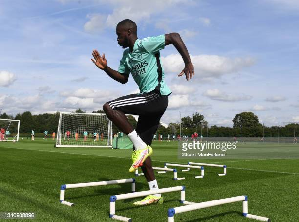 Nicolas Pepe of Arsenal during a training session at London Colney on September 17, 2021 in St Albans, England.