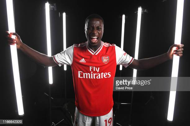 Nicolas Pepe of Arsenal during the Arsenal Media Day at London Colney on August 07 2019 in St Albans England
