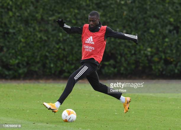 Nicolas Pepe of Arsenal during the Arsenal training session ahead of the UEFA Europa League Group B stage match between Arsenal FC and Dundalk FC at...