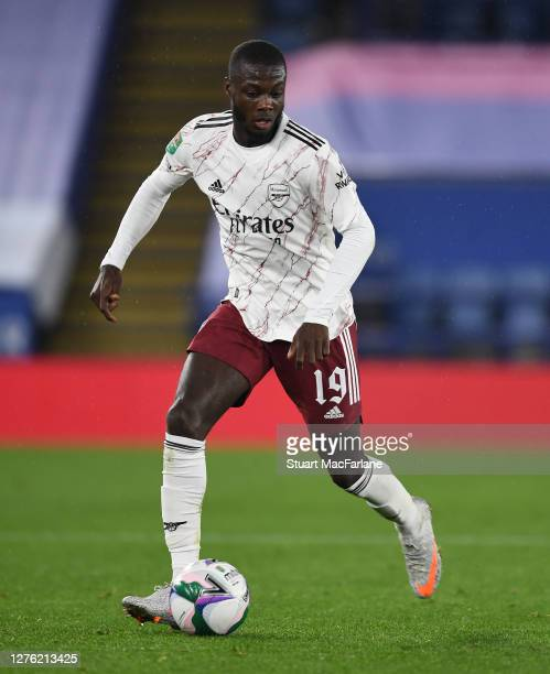 Nicolas Pepe of Arsenal during the Carabao Cup Third Round match between Leicester City and Arsenal at The King Power Stadium on September 23 2020 in...