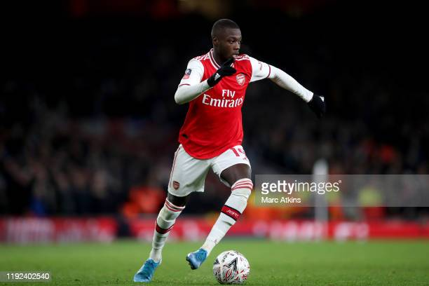 Nicolas Pepe of Arsenal during the FA Cup Third Round match between Arsenal and Leeds United at Emirates Stadium on January 6 2020 in London England