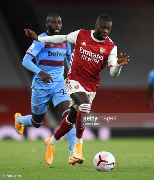 Nicolas Pepe of Arsenal during the Premier League match between Arsenal and West Ham United at Emirates Stadium on September 19 2020 in London England