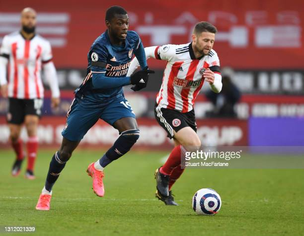 Nicolas Pepe of Arsenal during the Premier League match between Sheffield United and Arsenal at Bramall Lane on April 11, 2021 in Sheffield, England....