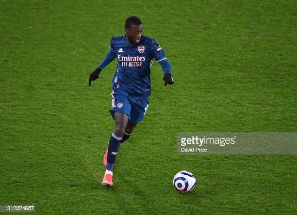 Nicolas Pepe of Arsenal during the Premier League match between Sheffield United and Arsenal at Bramall Lane on April 11, 2021 in Sheffield, England.