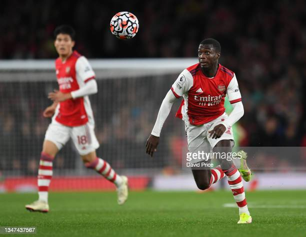 Nicolas Pepe of Arsenal during the Premier League match between Arsenal and Crystal Palace at Emirates Stadium on October 18, 2021 in London, England.