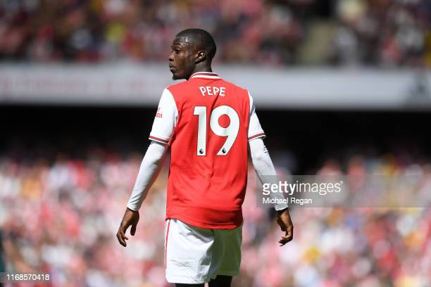 Nicolas Pepe of Arsenal during the Premier League match between Arsenal FC and Burnley FC at Emirates Stadium on August 17 2019 in London United...