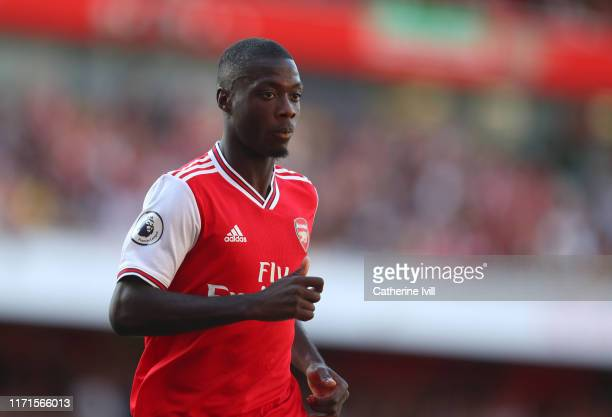 Nicolas Pepe of Arsenal during the Premier League match between Arsenal FC and Tottenham Hotspur at Emirates Stadium on September 01 2019 in London...