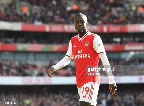 Nicolas Pepe of Arsenal during the Premier League match between Arsenal FC and AFC Bournemouth at Emirates Stadium on October 06 2019 in London...