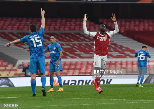 Nicolas Pepe of Arsenal during the UEFA Europa League Round of 16 Second Leg match between Arsenal and Olympiacos at Emirates Stadium on March 18,...