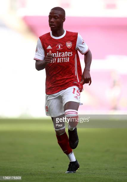 Nicolas Pepe of Arsenal in action during the Heads Up FA Cup Final match between Arsenal and Chelsea at Wembley Stadium on August 01, 2020 in London,...