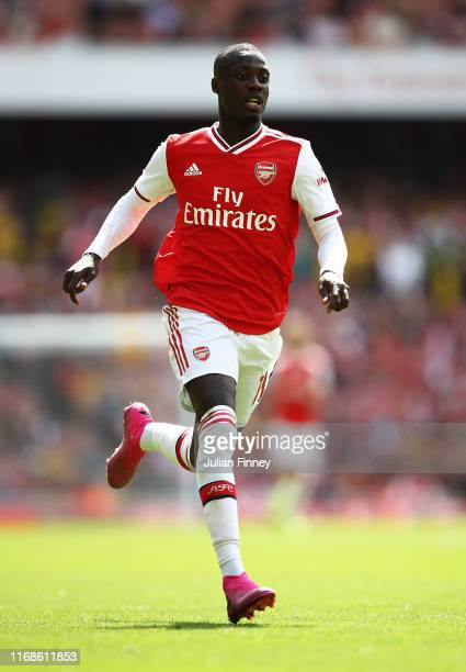 Nicolas Pepe of Arsenal in action during the Premier League match between Arsenal FC and Burnley FC at Emirates Stadium on August 17 2019 in London...