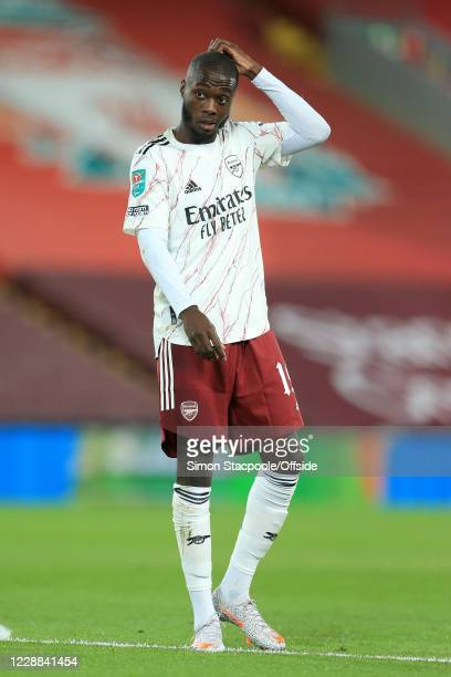 Nicolas Pepe of Arsenal looks dejected during the Carabao Cup Fourth Round match between Liverpool and Arsenal at Anfield on October 1, 2020 in...