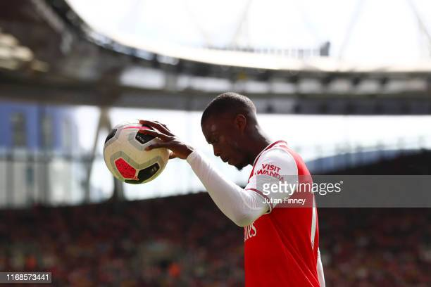 Nicolas Pepe of Arsenal looks on during the Premier League match between Arsenal FC and Burnley FC at Emirates Stadium on August 17 2019 in London...