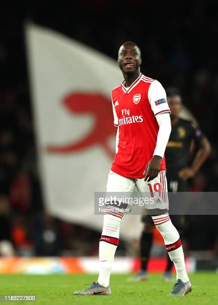 Nicolas Pepe of Arsenal looks on during the UEFA Europa League group F match between Arsenal FC and Vitoria Guimaraes at Emirates Stadium on October...
