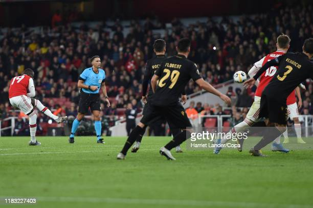 Nicolas Pepe of Arsenal scores his team's third goal during the UEFA Europa League group F match between Arsenal FC and Vitoria Guimaraes at Emirates...
