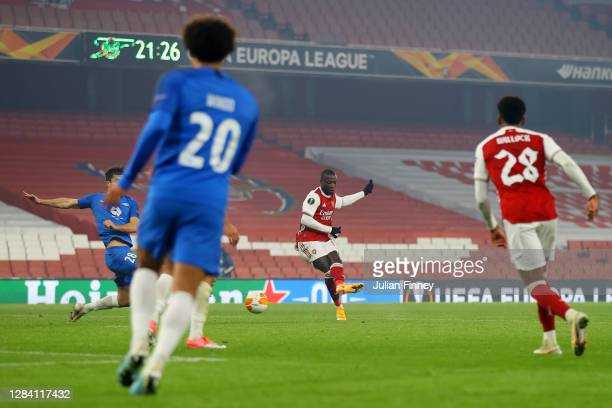 Nicolas Pepe of Arsenal scores his team's third goal during the UEFA Europa League Group B stage match between Arsenal FC and Molde FK at Emirates...
