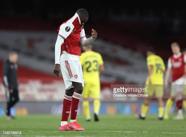 Nicolas Pepe of Arsenal shows his disappointment during the UEFA Europa League Semi-final Second Leg match between Arsenal and Villareal CF at...