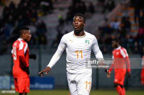 Nicolas Pepe of Ivory Coast celebrates his goal during the International friendly match between Togo and Ivory Coast on March 24, 2018 in Beauvais,...