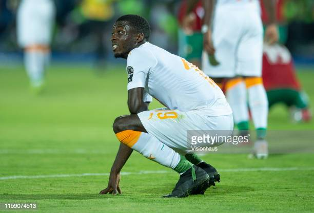 Nicolas Pepe of Ivory Coast reacts after defeat in the 2019 Africa Cup of Nations Group D match between Morocco and Ivory Coast at AlSalam Stadium on...