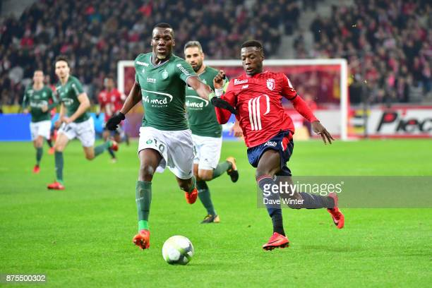 Nicolas Pepe of Lille and Florentin Pogba of St Etienne during the Ligue 1 match between Lille OSC and AS SaintEtienne at Stade Pierre Mauroy on...