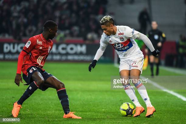 Nicolas Pepe of Lille and Mariano Diaz of Lyon during the Ligue 1 match between Lille OSC and Olympique Lyonnais at Stade Pierre Mauroy on February...