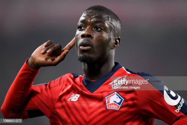 Nicolas Pepe of Lille celebrates 2-0 during the French League 1 match between Lille v Olympique Lyon at the Stade Pierre Mauroy on December 1, 2018...