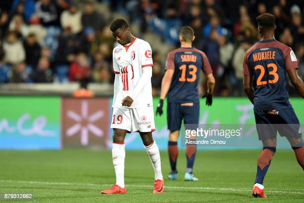Nicolas Pepe of Lille desapointed during the Ligue 1 match between Montpellier Herault SC and Lille OSC at Stade de la Mosson on November 25 2017 in...