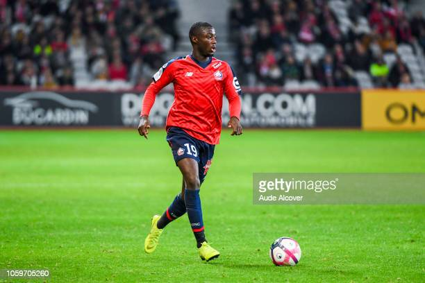 Nicolas Pepe of Lille during the Ligue 1 match between Lille and Strasbourg at Stade Pierre Mauroy on November 9 2018 in Lille France
