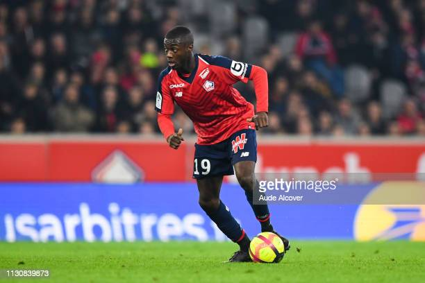 Nicolas Pepe of Lille during the Ligue 1 match between Lille and Monaco at Stade Pierre Mauroy on March 15 2019 in Lille France