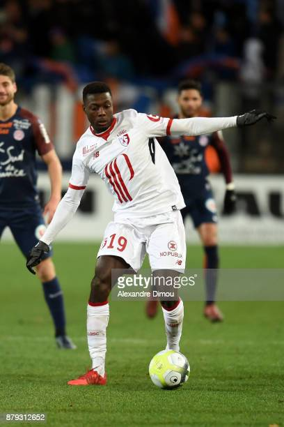Nicolas Pepe of Lille during the Ligue 1 match between Montpellier Herault SC and Lille OSC at Stade de la Mosson on November 25 2017 in Montpellier