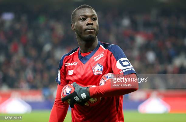 Nicolas Pepe of Lille following the French Ligue 1 match between Lille OSC and Paris SaintGermain at Stade Pierre Mauroy on April 14 2019 in Lille...