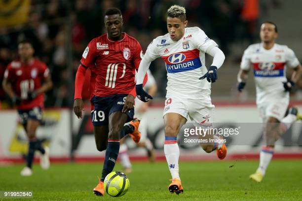 Nicolas Pepe of Lille Mariano Diaz of Olympique Lyon during the French League 1 match between Lille v Olympique Lyon at the Stade Pierre Mauroy on...