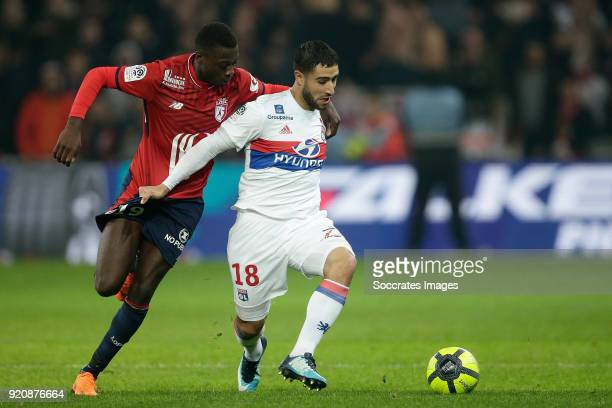 Nicolas Pepe of Lille Nabil Fekir of Olympique Lyon during the French League 1 match between Lille v Olympique Lyon at the Stade Pierre Mauroy on...